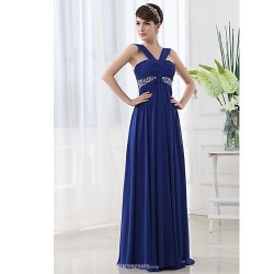 Floor-length Chiffon Bridesmaid Dress - Royal Blue A-line Straps