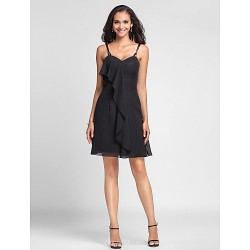 Short/Mini Chiffon Bridesmaid Dress - Black Plus Sizes / Petite Sheath/Column Spaghetti Straps / Sweetheart