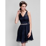 A-line Short/Mini Flower Girl Dress - Chiffon Sleeveless Bridesmaid Dresses