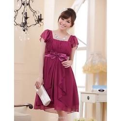 Knee-length Chiffon Bridesmaid Dress - Burgundy / Black / Beige A-line / Princess Square