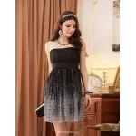 Tea-length Chiffon / Satin / Polyester Bridesmaid Dress - Blushing Pink / Champagne / Black A-line / Princess Strapless Bridesmaid Dresses