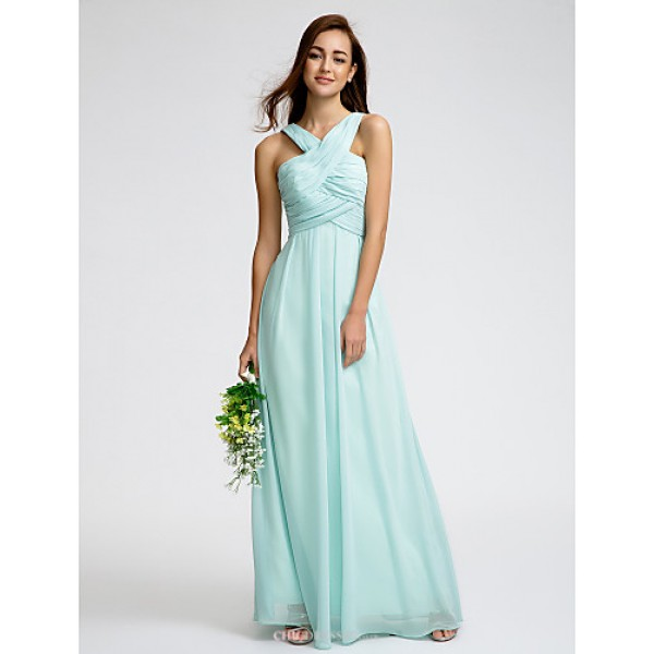 Ankle-length Georgette Bridesmaid Dress - As Picture Sheath/Column V-neck Bridesmaid Dresses
