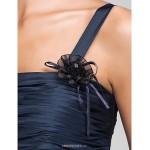 Floor-length Taffeta Bridesmaid Dress - Dark Navy Plus Sizes / Petite Sheath/Column Straps Bridesmaid Dresses