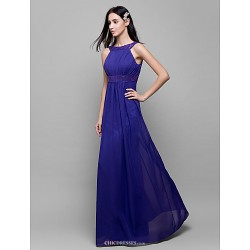 Floor-length Chiffon Bridesmaid Dress - Regency Sheath/Column Scoop