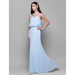 Floor Length Chiffon Bridesmaid Dress Sky Blue Sheath Column Spaghetti Straps