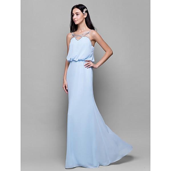 Floor-length Chiffon Bridesmaid Dress - Sky Blue Sheath/Column Spaghetti Straps Bridesmaid Dresses