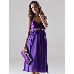 Knee-length Chiffon / Charmeuse Bridesmaid Dress - Regency Plus Sizes / Petite A-line / Princess Halter / Sweetheart