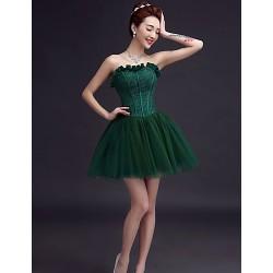 Short/Mini Tulle Bridesmaid Dress - Ruby / Burgundy / Dark Green / White / Champagne / Black A-line Sweetheart