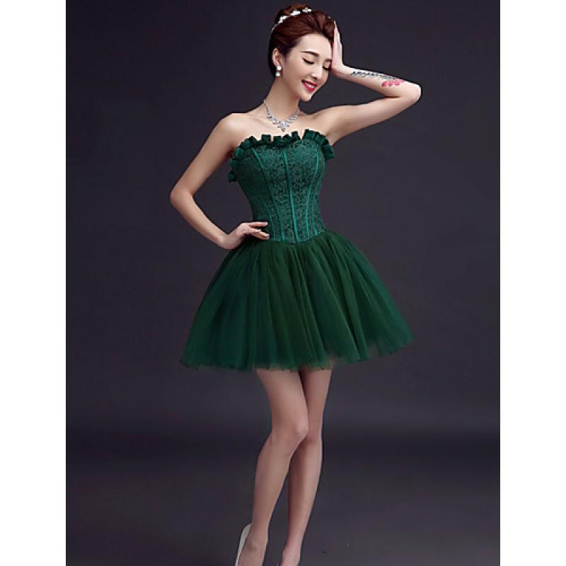 656e3d2ca1 ... Black A-line Sweetheart · Short Mini Tulle Bridesmaid Dress - Ruby    Burgundy   Dark Green   White