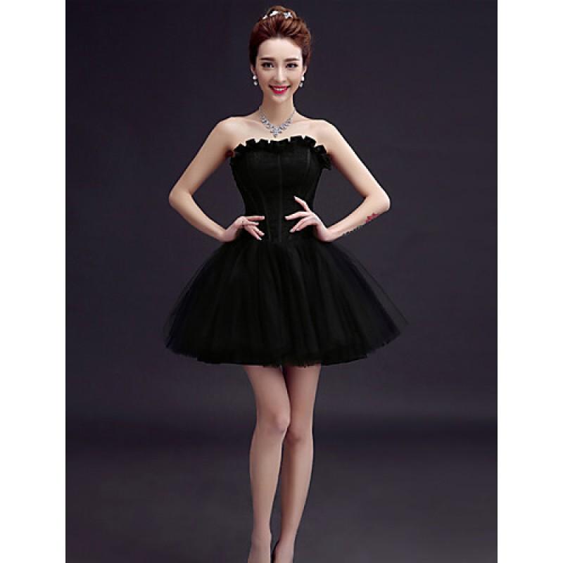 bfe31b11759c ... Short Mini Tulle Bridesmaid Dress - Ruby   Burgundy   Dark Green   White  ...