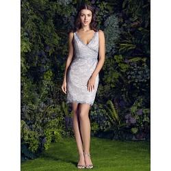 Short Mini Lace Bridesmaid Dress Ivory Plus Sizes Petite Sheath Column V Neck