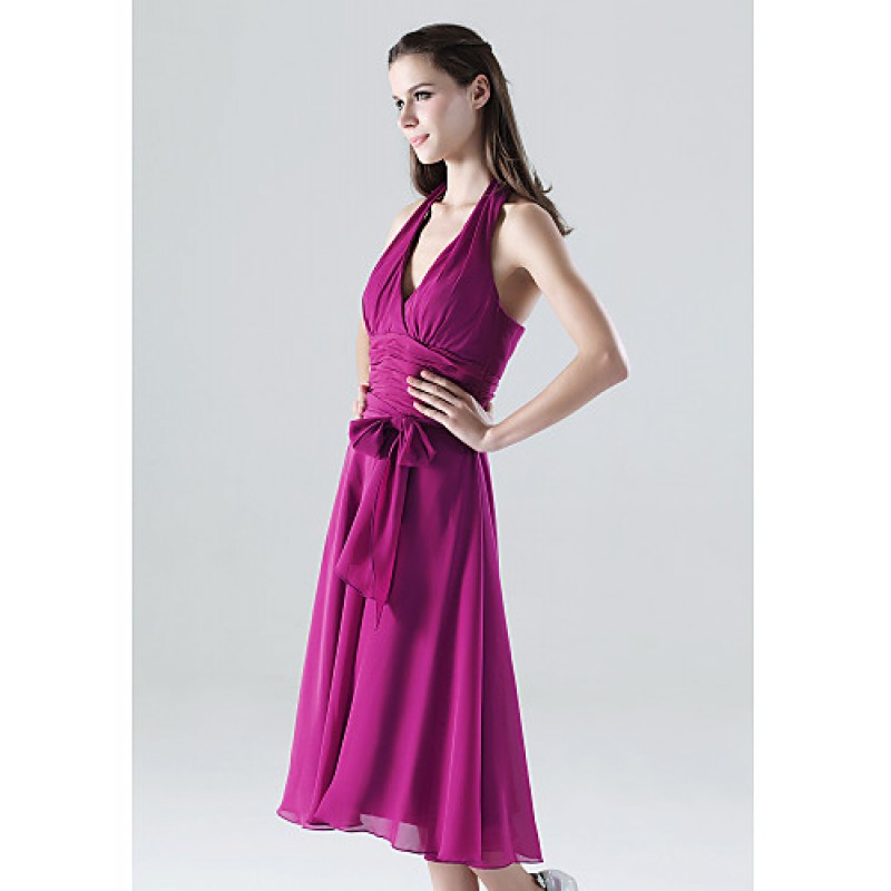 Blood Pool Halterneck Wedding Gown: Tea-length Chiffon Bridesmaid Dress