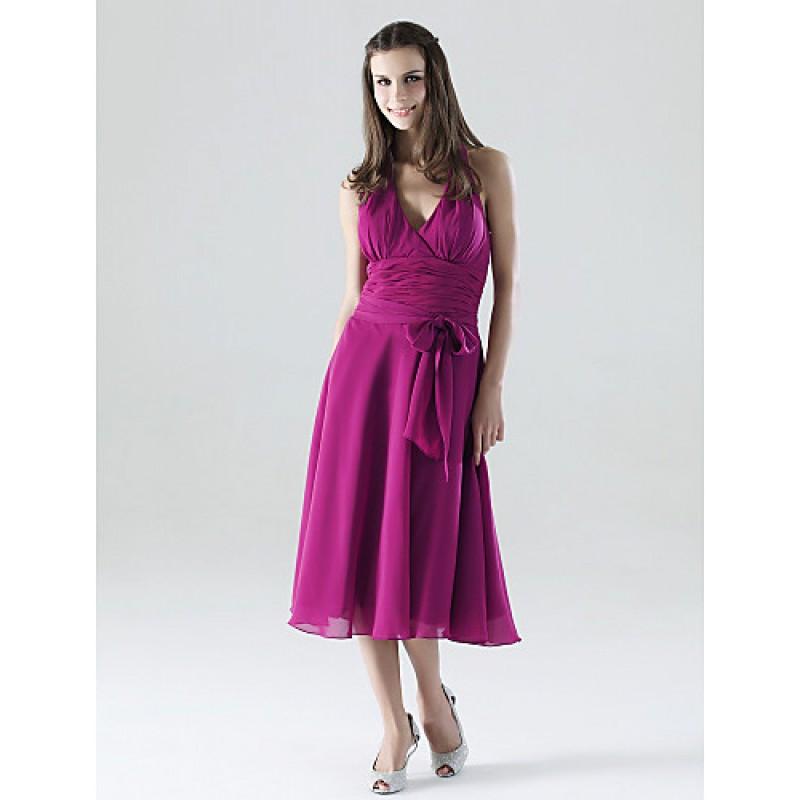 Tea-length Chiffon Bridesmaid Dress