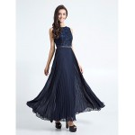 Ankle-length Chiffon / Lace Bridesmaid Dress - Dark Navy Plus Sizes / Petite Sheath/Column Jewel Bridesmaid Dresses
