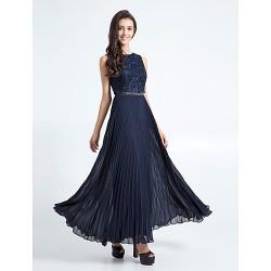 Ankle Length Chiffon Lace Bridesmaid Dress Dark Navy Plus Sizes Petite Sheath Column Jewel