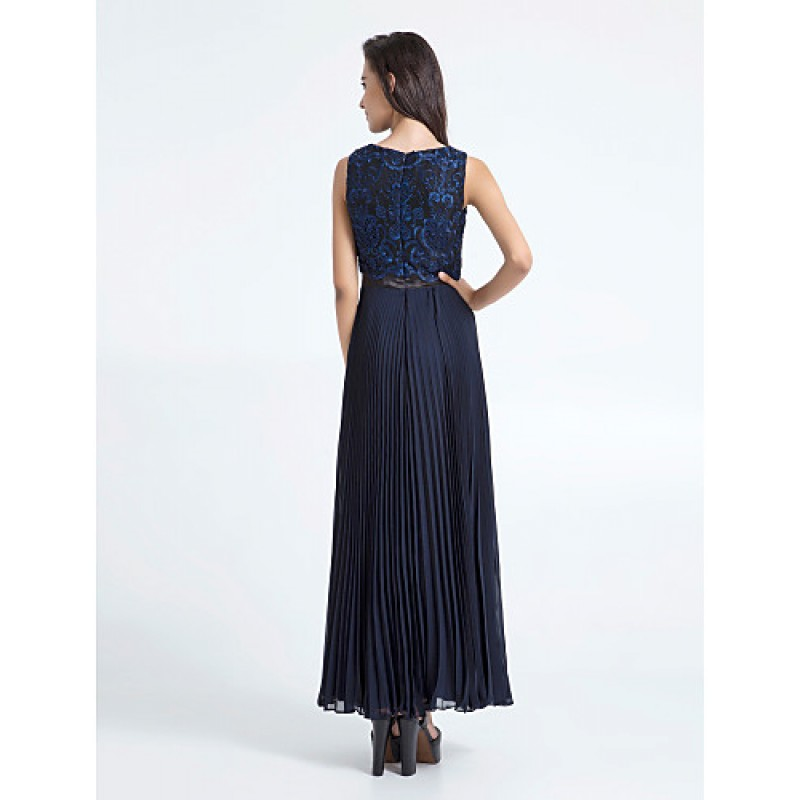 Ankle Length Chiffon Lace Bridesmaid Dress Dark Navy