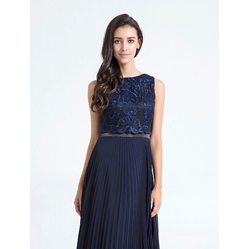 69565445a1cca ... Ankle-length Chiffon   Lace Bridesmaid Dress - Dark Navy Plus Sizes    Petite Sheath