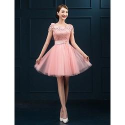 Short/Mini Lace Bridesmaid Dress - Candy Pink Sheath/Column Jewel