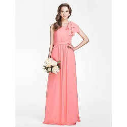 Floor Length Chiffon Bridesmaid Dress Watermelon Plus Sizes Petite Sheath Column One Shoulder