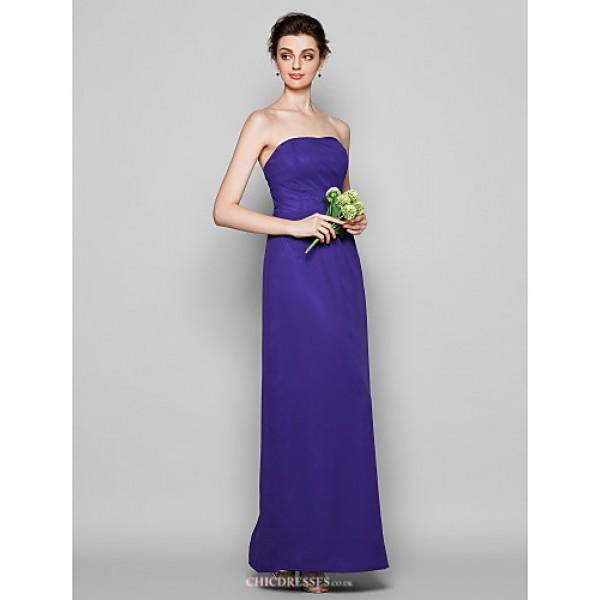 Ankle-length Chiffon Bridesmaid Dress - Regency Plus Sizes / Petite Sheath/Column Strapless Bridesmaid Dresses