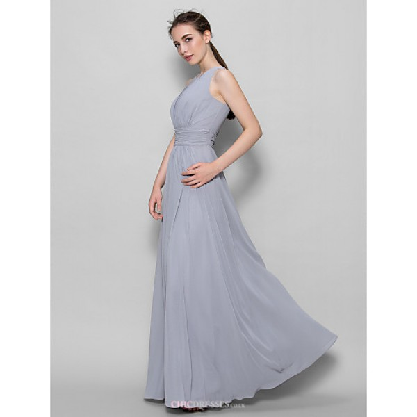 Ankle-length Georgette Bridesmaid Dress - Silver A-line Scoop Bridesmaid Dresses