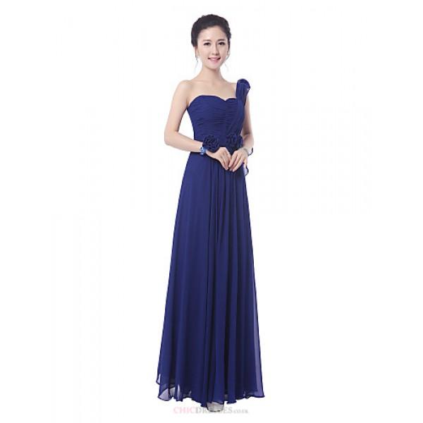 Floor-length Bridesmaid Dress - Ruby / Royal Blue Sheath/Column One Shoulder / Straps Bridesmaid Dresses