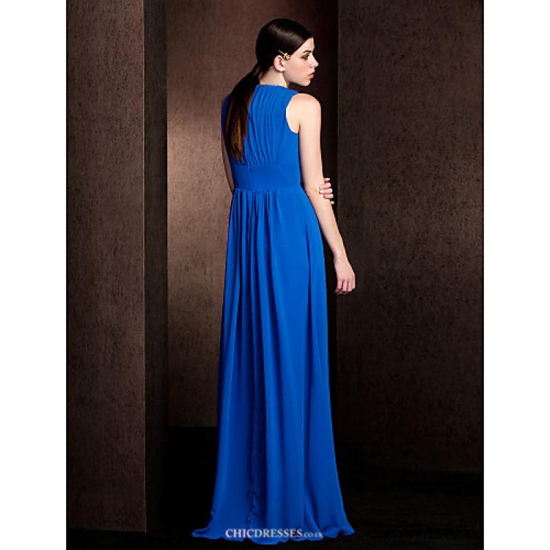Floor length chiffon bridesmaid dress royal blue plus for Royal blue plus size wedding dresses