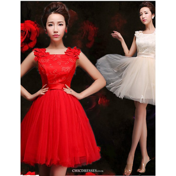 Short/Mini Tulle Bridesmaid Dress - Ruby / Champagne A-line Straps Bridesmaid Dresses