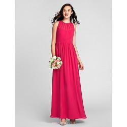 Floor-length Chiffon Bridesmaid Dress - Fuchsia Plus Sizes / Petite Sheath/Column Jewel