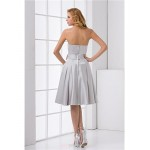 Formal Evening Dress - As Picture Plus Sizes / Petite A-line Strapless Short/Mini Satin Bridesmaid Dresses