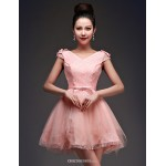 Cocktail Party Dress - Blushing Pink Ball Gown V-neck Short/Mini Satin / Tulle Celebrity Dresses