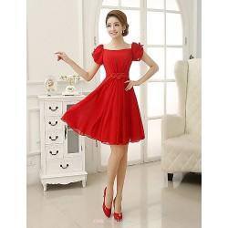 Short Mini Chiffon Bridesmaid Dress Ruby Sheath Column Square
