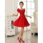 Short/Mini Chiffon Bridesmaid Dress - Ruby Sheath/Column Square Bridesmaid Dresses