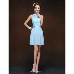 Short/Mini Bridesmaid Dress - Sky Blue Sheath/Column High Neck