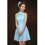 Short/Mini Bridesmaid Dress - Sky Blue Sheath/Column High Neck Bridesmaid Dresses