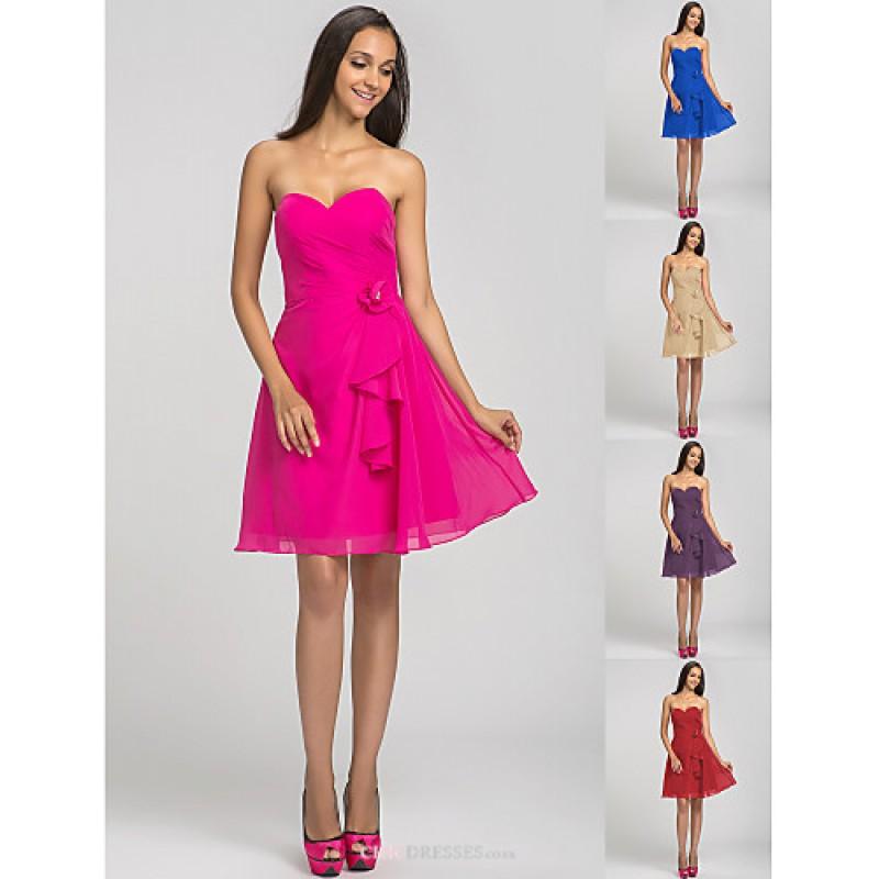 Short/Mini Chiffon Bridesmaid Dress - Fuchsia / Royal Blue / Ruby ...
