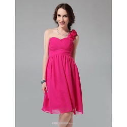 Knee Length Chiffon Bridesmaid Dress Fuchsia Plus Sizes Petite A Line Princess One Shoulder Sweetheart