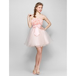 Short/Mini Tulle / Stretch Satin Bridesmaid Dress - Blushing Pink Ball Gown Strapless