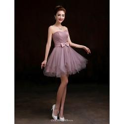 Short Mini Tulle Bridesmaid Dress Purple A Line Sweetheart