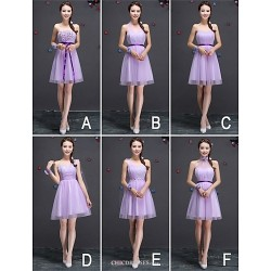 Knee Length Tulle Bridesmaid Dress Lilac A Line One Shoulder