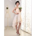 Asymmetrical Chiffon Bridesmaid Dress - Ruby / White / Champagne A-line Strapless Bridesmaid Dresses