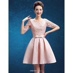 Knee Length Lace Bridesmaid Dress Blushing Pink A Line Scoop