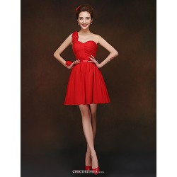Short Mini Bridesmaid Dress Ruby Sheath Column One Shoulder