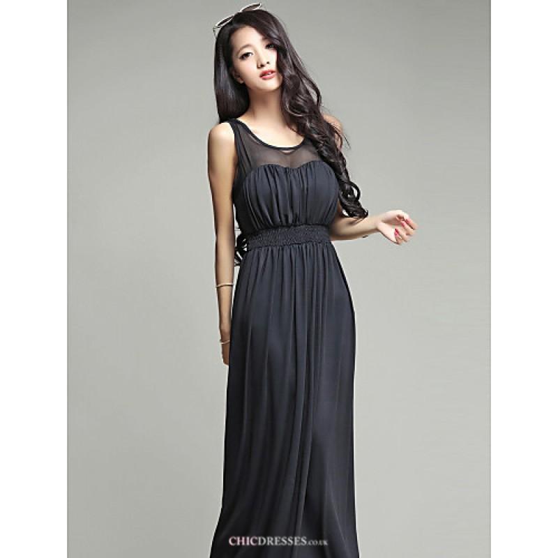 Ankle-length Silk Bridesmaid Dress - Burgundy / Dark Green ...