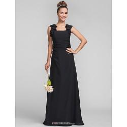 Floor Length Chiffon Bridesmaid Dress Black Plus Sizes Petite Sheath Column Square