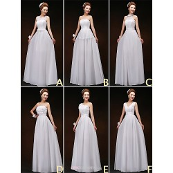 Mix & Match Dresses Floor Length Chiffon And Lace 6 Styles Bridesmaid Dresses (3227801)