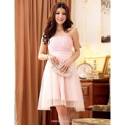 Knee Length Lace Polyester Bridesmaid Dress Candy Pink A Line Princess Strapless