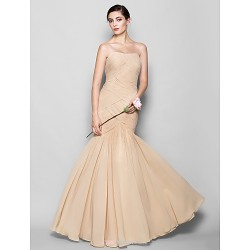 Floor Length Chiffon Bridesmaid Dress Champagne Plus Sizes Petite Fit & Flare Sweetheart