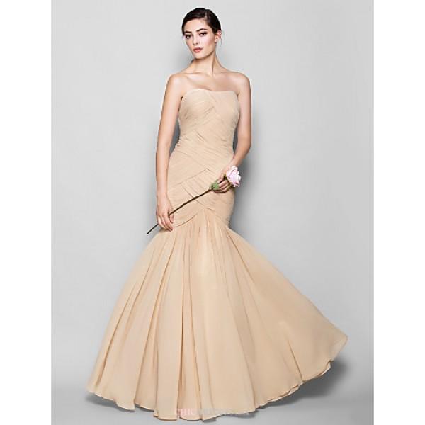 Floor-length Chiffon Bridesmaid Dress - Champagne Plus Sizes / Petite Fit & Flare Sweetheart Bridesmaid Dresses