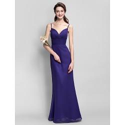 Floor Length Chiffon Bridesmaid Dress Regency Plus Sizes Petite Sheath Column Spaghetti Straps